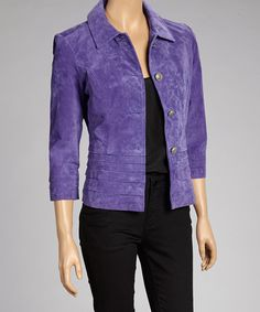 Take a look at this Plum Leather Button-Up Jacket by Live A Little on #zulily today! $59 !!