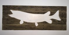 Rustic Muskie reverse cutout fish, nautical wall art made from reclaimed wood