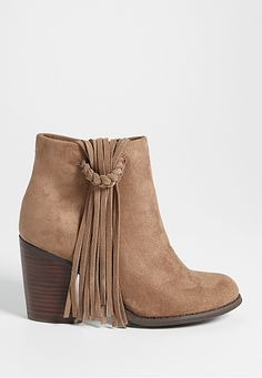 6ff804fb8f5a hailey bootie with genuine leather fringe in taupe (original price