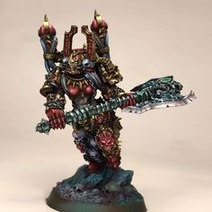 Chaos Daemons, Chaos Lord, Warhammer 40k Miniatures, Warhammer Fantasy, Love And Respect, Space Marine, Axe, Painting Inspiration, Old Things