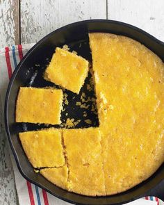 Cast-Iron Honey Cornbread This honey butter-topped cornbread recipe from chef Emeril Lagasse is made in a cast-iron skillet right on the grill so it develops a deliciously crunchy exterior. As an alternative, the cornbread can also be baked in a oven. Iron Skillet Recipes, Cast Iron Recipes, Honey Cornbread, Skillet Cornbread, Cornbread Recipes, Jiffy Cornbread, Grilling Recipes, Cooking Recipes, Vegetarian Food