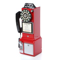 Bring the retro look to your home with the Crosley Classic Red Pay Phone. Classy and stylish, this pay phone is fashionable and neat. It comes with a coin bank and rotary dial that is adorned with a push button technology. Telephone Vintage, Vintage Phones, Telephone Booth, 1950s Decor, Retro Home Decor, Vintage Trucks, Retro Vintage, Vintage Ideas, Vintage Gothic