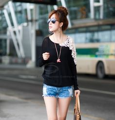 Sweet Style Dolman Sleeves Lace Openwork Design Sweater For Women (BLACK,ONE SIZE) China Wholesale - Sammydress.com