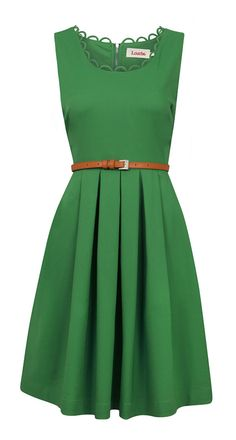 Belted Kelly Green Dress