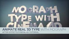 Add Real Type To After Effects Using Cineware And Mograph. In this tutorial, we will be learning about my favorite menu in Cinema Lite. Tutorial Sites, 3d Tutorial, Cinema 4d Tutorial, 3d Type, Typography, Lettering, Type Setting, After Effects, Visual Effects