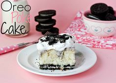 OREO Poke Cake  INGREDIENTS        1 box white cake mix, plus ingredients to prepare      1 package Oreo cookies      1 (4.2 oz) box instant Oreo Pudding      2 cups milk      8 oz container Cool Whip, thawed