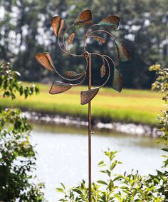 Look at this Bronze Leaf Kinetic Garden Stake by Evergreen Outdoor Plants, Outdoor Fun, Outdoor Decor, Outdoor Living, Outdoor Ideas, Hidden Garden, Copper Art, Wind And Rain, Kinetic Art