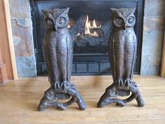 Antique Cast Iron Owl Andirons with Glass Eyes .....