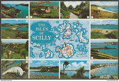 Multiview and Map - Isles of Scilly, c.1980s - Gibson Postcard