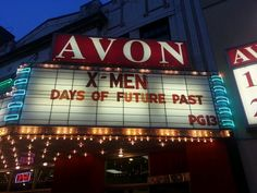 X-Men Days of Future Past on the marquee; Avon Theater in downtown Decatur Illinois