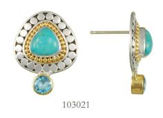 Blue Topaz and Turquoise earrings  - Harmonics Collection