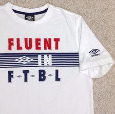 """UMBRO""""FLUENT IN FTBL""""T-SHIRT White/Red/Navy-Blue Football/Futbol/Soccer MENS MED #Umbro #GraphicTee"""