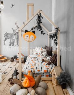 Toddler house bed Montessori floor bed teepee bed kid bed wood bed children home waldorf toy children bed kids bedroom floor bed Wood house bed Toddler bed Montessori bed Tent bed Wooden