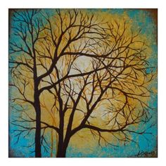 Turquoise Trees 10x10 art print by LisahPilchak on Etsy, $27.00