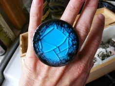 Cocktail Ring in Black and Blue Crackled Glass