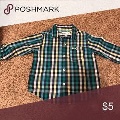 24 month plaid button down Never worn 24 month plaid button down shirt Shirts & Tops Button Down Shirts