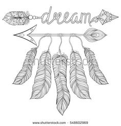 Boho chic ethnic dream Arrow with feathers, dream catcher. Hand drawn American Indian style, zentangle illustration for adult coloring pages, art therapy, t-shirt tribal print. Henna tattoo design