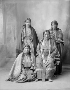 Unidentified women of the Assiniboine Nation, Northern Great Plains. No date or additional information.