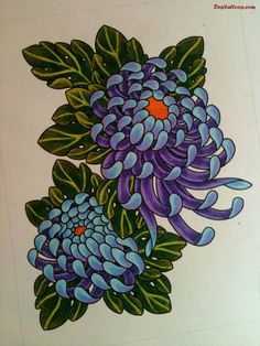 Blue Chrysanthemum Tattoo Blue chrysanth