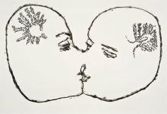 Étude sur le phénomène de l'amour, technique mixte sur papier, 38 x 56 cm. Par Stéphanie Béliveau.