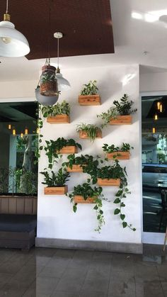 Plant Wall Decor, House Plants Decor, Outdoor Cafe, Outdoor Walls, Rustic Outdoor, Hanging Plants, Indoor Plants, Hang Plants On Wall, Indoor Plant Wall