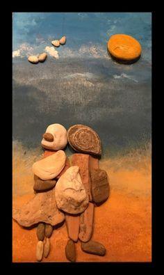 Kavicsok és kövek felragasztásával készített faliképek - szabad kézzel festett háttérre... #stoneart #pebbleart #art #pebble
