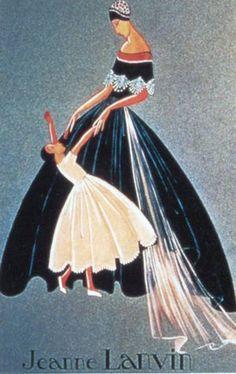 1927 Paul Iribe Jeanne Lanvin illustration, Mère et fille en robe de style. © Patrimoine Lanvin..