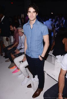 Darren Criss attends the front row at the Michael Bastian fashion show during New York Fashion Week: Men's S/S 2016 at Skylight Clarkson Sq on July 15, 2015 in New York City.