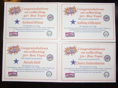 Certificates to celebrate students who brought in 50+ box tops!  Thank you Janine Robinson McQueen, for the certificate idea/template!
