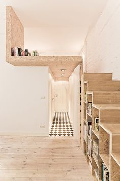 Scandinavian: Always had a love affair for lofts! Loving this idea of using shelves as stairs :) Scandinavian: Always had a love affair for lofts! Loving this idea of using shelves as stairs :) Tiny Living, Living Spaces, Living Room, Living Area, Compact Living, Mezzanine Bedroom, Mezzanine Floor, Bedroom Loft, Master Bedroom