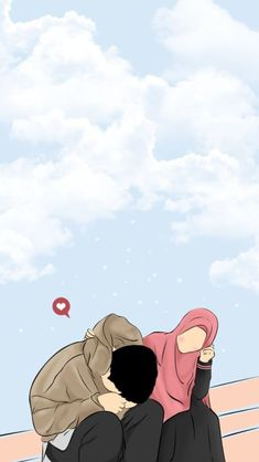 Love Cartoon Couple, Cute Couple Art, Anime Love Couple, Cartoon Wallpaper, Cute Wallpaper Backgrounds, Muslim Pictures, Islamic Pictures, Cute Muslim Couples, Cute Couples
