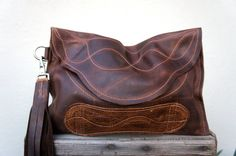 NEW////Chocolate Brown Leather Clutch with Handle by arebycdesign, $59.00