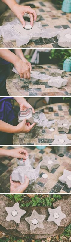 DIY: cement star votives