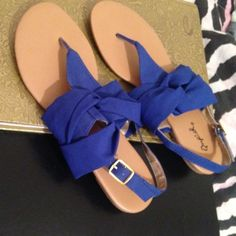Blue Qupid Sandals Size 7 sandals! Only worn a few times! Qupid Shoes Sandals