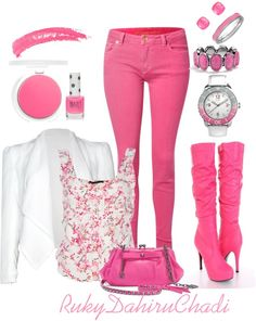 Outfits Mix and Match .Nice combo ⋆ Instyle Fashion One Pink Outfits, Summer Outfits, Casual Outfits, Cute Outfits, Pink Fashion, Fashion Outfits, Womens Fashion, Fashion Trends, Fall Fashion