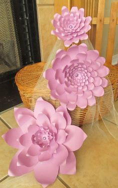 Black Friday Sale 10 Off Large Lavender Paper Flowers by mcfunk90, $37.80