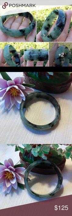 Natural Green, Black Jade Bangle Beautiful green,black jade bangle inner diameter 57 mm 💖💖💖 Jewelry Bracelets