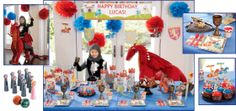 knights and dragons birthday party - who will stand against these fearsome dragons? outfit your brave little knights in helmet party hats, and arm each with a sword and shield. after the battle (and party games) are finished, serve medieval refreshments on tableware fit for a king.