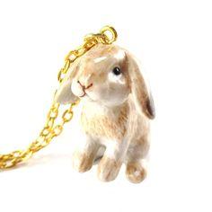 Porcelain Sitting Bunny Rabbit Shaped Hand Painted Ceramic Animal Pendant Necklace | Handmade