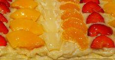 Fabulosa receta para Tarta de frutas con crema pastelera. Receta muy fácil de realizar, con gran resultado sobre todo para los peques y una forma de que coman fruta.
