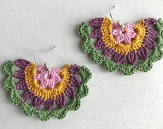 Adorable mandala crochet earrings made using premium quality cotton thread in 4 colours, as pictured. Crochet Jewelry Patterns, Crochet Earrings Pattern, Crochet Accessories, Crochet Jewellery, Diy Earrings Dangle, Diy Earrings Easy, Earrings Handmade, Quilling Earrings, Crochet Mandala