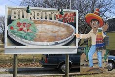 Mexican Villa Restaurant Burrito Sign  Springfield, Missouri- have been in business as long as I can remember, back to the early 70s, a Springfield classic!