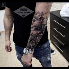 Ship Tattoo by Vladimir DrozdovYou can find Ship tattoos and more on our website.Ship Tattoo by Vladimir Drozdov Forarm Tattoos, Cool Arm Tattoos, Forearm Tattoo Men, Body Art Tattoos, Tattoos For Guys, Arrow Tattoos, Word Tattoos, Viking Ship Tattoo, Viking Tattoos