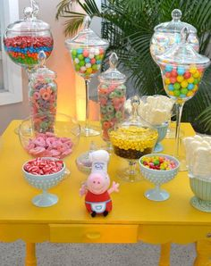 Peppa Pig Birthday Party candy!  See more party planning ideas at CatchMyParty.com!