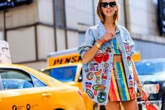 american, atmosphere details, blue, cartoon, chiara ferragni, collier de chien bracelet, denim jacket, embroidered jacket, embroideries, fashion week, fendi, frenchystyle, fuschia, FW, green, hermes, high waist, horizontal, jonathan paciullo, leather bag, leather skirt, message, mini bag, multicolor, NEW YORK, NYFW, orange, over the knee skirt, printed skirt, rainbow, red, red bag, shiny, SPRING SUMMER 2016, SS 16, street style, striped skirt, striped top, stripes, sunglasses, woman, yellow