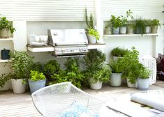 Herbs in pots around the grill