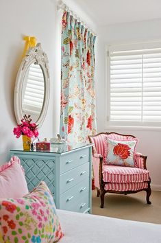 Classic furniture in kids room. Bright and cheery color palette.