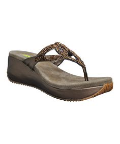 aa22960f295e Take a look at this Bronze Bryce Wedge Sandal by VOLATILE on  zulily today!