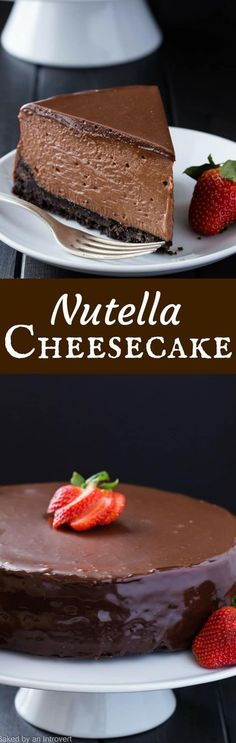 This Nutella Cheesecake is decadent, creamy, and full of chocolate hazelnut flavor.  #cheesecake #nutella #dessert via @introvertbaker