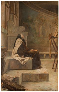 """""""But before she was permitted to do great things as God's chosen instrument,she still had to taste the most bitter pains.""""_Edith Stein,'The Hidden Life' // Saint Teresa of Avila / Santa Teresa de Jesús // 1884 // José Alcázar Tejedor // Doctor of the Church and reformer of the Carmelite Order."""